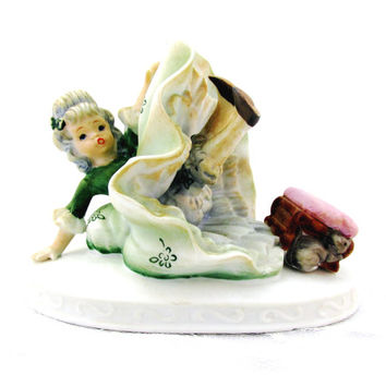 Lefton Hand Painted Crinoline Girl And Mouse Figurine 1950's China Signed And Numbered Exclusives KW 1234 1050's Collectible Gift Item 1427