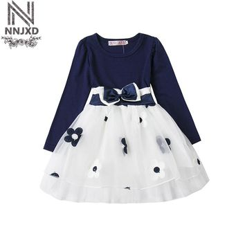 New Autumn Dresses 2017 Girls Dresses Flower Girls Clothes Bow Children Baby Girl Casual Wear Long Sleeve Toddler Tulle Costume