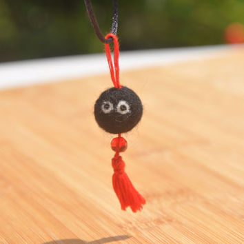 Felted Wool Soot Sprite Tassel Pendant, Cute Lil Soot Sprite Charm Ready for a Necklace, Felted Soot Sprite, Wool Soot Sprite