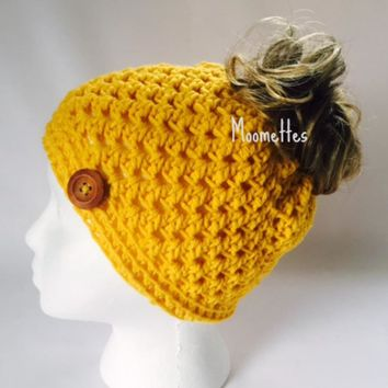 Handmade Messy Bun Hat Yellow Beanie Crochet Wood Button Runner Jogger Ponytail