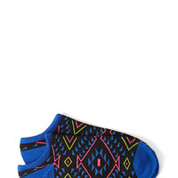 FOREVER 21 Tribal Print Socks Black/Blue One