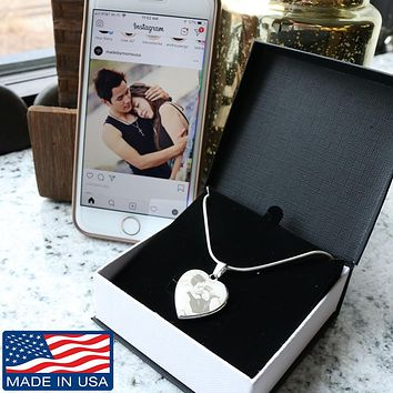 Personalized Etched Photo Heart Necklace