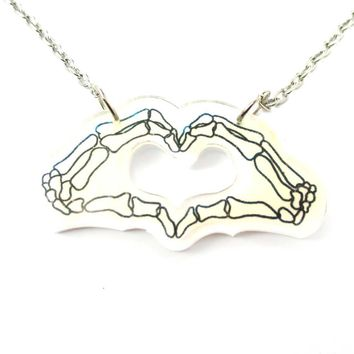 Skeleton Hands Forming an I Heart You Sign Shaped Pendant Necklace in Acrylic