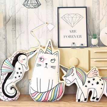 Cartoon Animal Toy unicorn cat plush pillow soft unicorn horse cushion plush toys New style doll