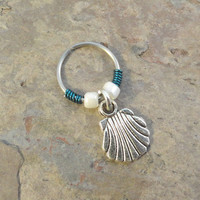 Seashell Beaded Cartilage Hoop Earring - You Choose Colors