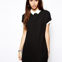 Daisy Street Shirt Dress with Contrast Collar and Cuffs - Black