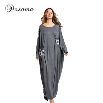 Women's Maxi Dress Winter Abaya Patch Robes Loose Style Thickening Knitted Cotton Jilbab Muslim Middle East Islamic Clothing
