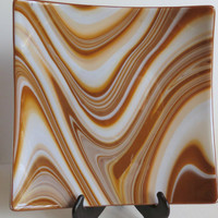Fused Glass Large Serving Dish, Brown Swirl Pattern, Home Decor, Statteam