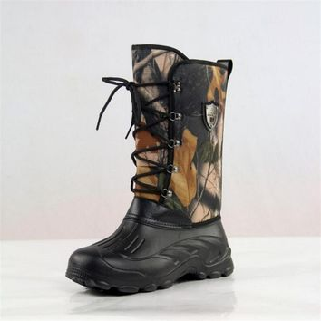 warm winter waterproof fishing boots for men tree camouflage army boots warm fur men s  number 1