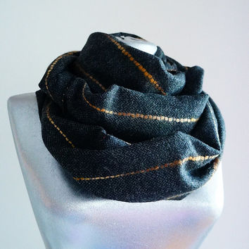 Handmade Striped Infinity Scarf - Wool - Dark Gray Mustard Beige - Winter Autumn Scarf - Men Unisex Scarf