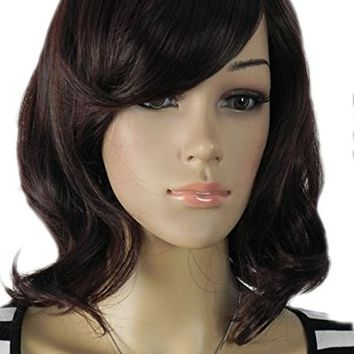 QIYUN.Z Medium Shoulder Length Wavy Waves Straight Ramp Bangs Black Synthetic Hair Full Wig