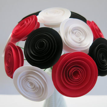 "Black, Red and White Paper Flower bouquet rose floral arrangement 50th Birthday retirement decoration BEST SELLING most popular 1.5"" blooms"