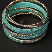Stacked Bangle Set - Teal from Jewelry & Accessories at Lucky 21 Lucky 21