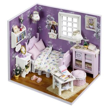 Dollhouse diy  Kit girls bed room with LED Light
