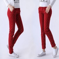 Lovely Small Dot Pattern Hareem Style Skinny Long Pants 4 Colors