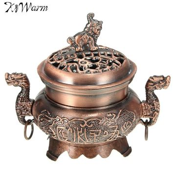 Alloy Double Dragon,Hollow Cover Incense Burner Censer for Cone Incense Holder