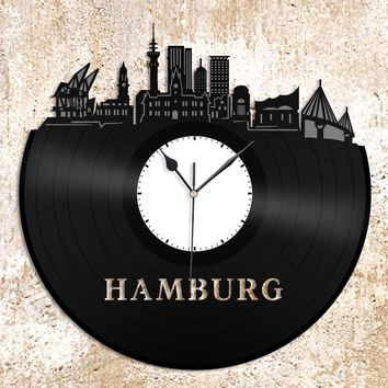Hamburg Skyline Wall Clock Hamburg City Skyline Record Art Minimalist Gift for him Personalized Clocks Germany gift Minimalist Hamburg decor
