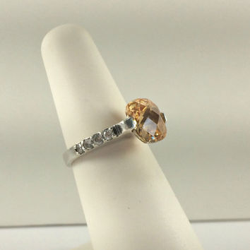 Sterling 925 Citrine Ring Promise Engagement Ring Princess Jewelry Prom Ring Homecoming Ring High Fashion Hollywood Regency Gemstone Avon