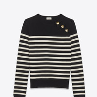 Black and Ivory Striped Sailor Sweater