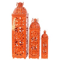 Urban Trends 3 Piece Metal Lantern Set