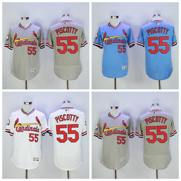 St. Louis Cardinals Baseball Jerseys Vintage 55 Stephen Piscotty Jersey Cooperstown Flexbase Cool Base Pullover White Grey Blue Red Cream