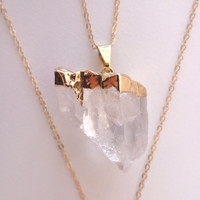 Gold Dipped Crystal Quartz Necklace- 24k Gold Dipped Crystal Quartz on a 14k Gold Fill Chain
