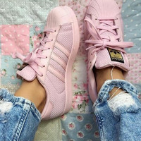 adidas Originals Superstar Pink Mesh Fashion Shell-toe Series Flats Sneakers Sport Shoes