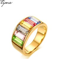 TYME 2017 New fashion products 9mm stainless steel gold-color ring for woman jewelry rainbow gold color beautiful ring for woman