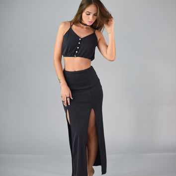 Double Slit Maxi Skirt - Charcoal Grey