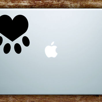 Dog Paw Heart Laptop Apple Macbook Quote Wall Decal Sticker Art Vinyl Animal Puppy Rescue Cute Love