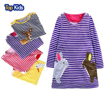 Long Sleeve Dress Girls Clothes Brand Winter Kids Dresses for Girls Animal Applique Princess Dress Children