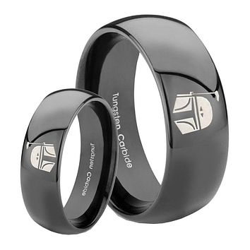 His Her Classic Dome Star Wars Boba Fett Sci Fi Science Shiny Black Tungsten Wedding Rings Set