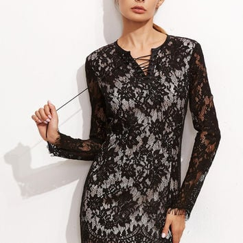 Black Lace Long Sleeve Mini Dress