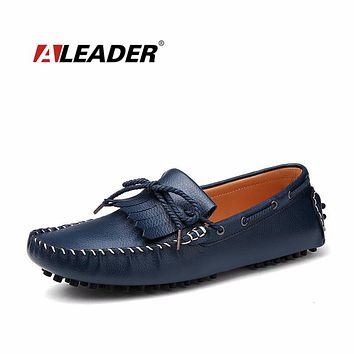 Casual Mens Loafers Leahter Autumn Fashion Tassel Knot Moccasin Shoes Fashion Loafers for Man Comfort Flats Driving Shoes