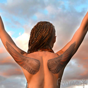 AERIAL • Temporary Tattoo • Three Large Bird Wing Tattoos • Realistic Wings Boho Festival Flash Tat with Henna Accents • Sexy Feather Tattoo