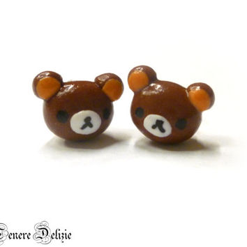 Kawaii teddy bear earrings - Rilakkuma inspired earrings - polymer clay earrings