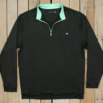 Southern Marsh Half Moon 1/4 Zip Performance Pullover- Black