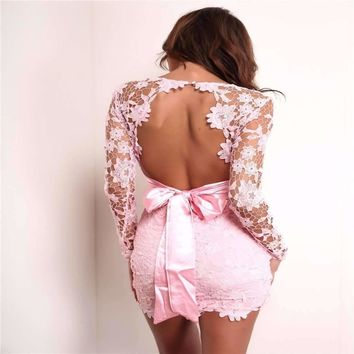 Floral Lace Overlay Backless Women Bodycon Dress