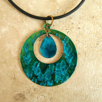 Circle Necklace: Teal and Blue - Round Necklace - Geometric Jewelry - Bright Jewelry - Minimalist Jewelry - Modern Jewelry - Mothers Day