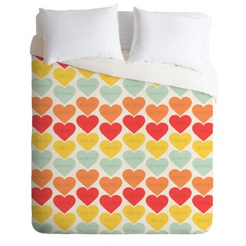 Allyson Johnson Cute Little Hearts Duvet Cover