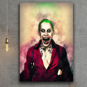 Joker Suicide Squad Movie Canvas Print - Framed & Ready To Hang - Wall Hanging - Digital Painting