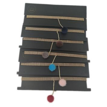 The new trend of color diamond clavicle chain network red cotton ball necklace pendant gold metal card neck chain Choker neck strap 01