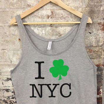 NYC St. Patricks Day Boxy Tank Top | New York City St Patty's Day Top - 312