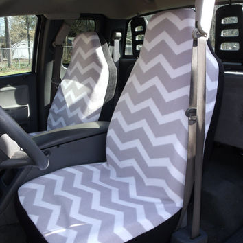 1 Set of Grey/White Chevron Print Seat Covers and the Steering Wheel cover Custom Made.