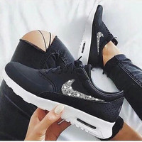NIKE Air Max Thea Trending Diamond Women Men Shining Sequin B-H-RYXM-SF Blcak+Silver Hook
