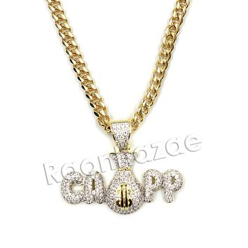 Hiphop Iced Out Black mafia CAPP dat $$$ Brass Pendant W/ 5mm 18-30 inches Cuban Chain