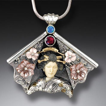 """Fan Geisha II"" Ancient Fossilized Mammoth Tusk Ivory, Garnet, Opal and Mother of Pearl Silver and 14kt Gold Fill Geisha Necklace"