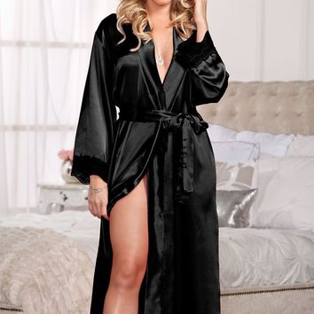 Long Satin & Lace Trimmed Robe (Small/Medium,Fuchsia)
