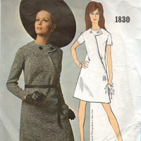 Vogue Americana Bill Blass 1960s Sewing Pattern Mad Men Style Casual Day Dress Asymmetrical Front Mini A-line Jewel Neck Bust 36