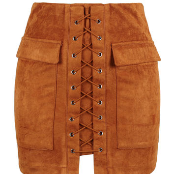 Brown Faux Suede Lace Up Front Mini Skirt